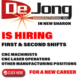 DeJong is hiring first and second shifts